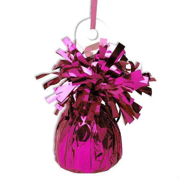Ballongewicht pink aus glänzender Metallicfolie mit Schlaufe, 13cm