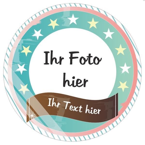 Retro! Foto Tortenaufleger mit Text – rund