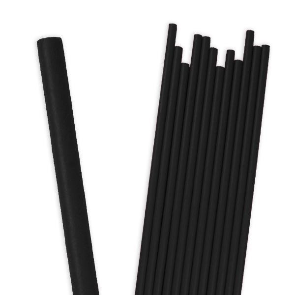 Schwarze Papier-Trinkhalme im 12er Pack
