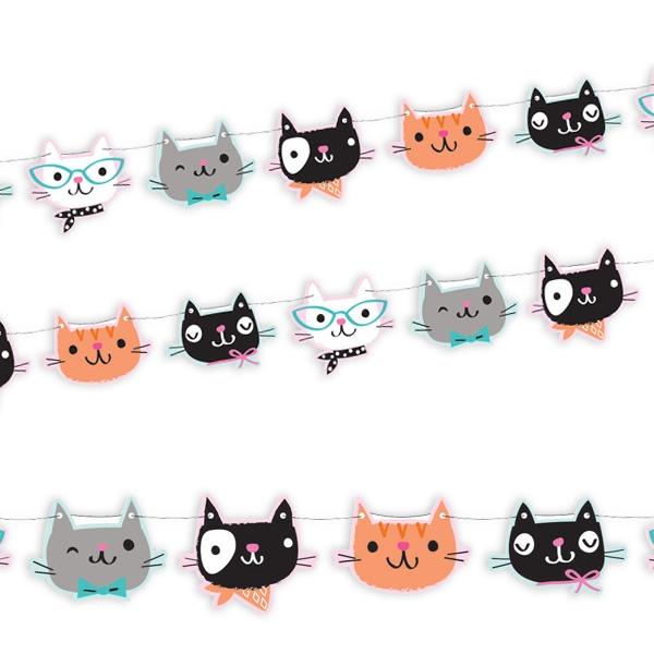 Kätzchen Party Motivgirlande, 1,67m, Katzengesichter aus Pappe, 14 cm