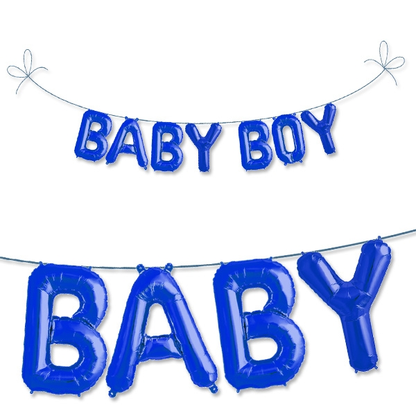 Mini Folieballonset Baby Boy in Blau zur Geburt eines Jungen, 2m x 33cm