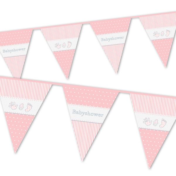 Baby Shower Girl Wimpelkette, rosa, Folie, für Indoor- & Outdoor-Partys