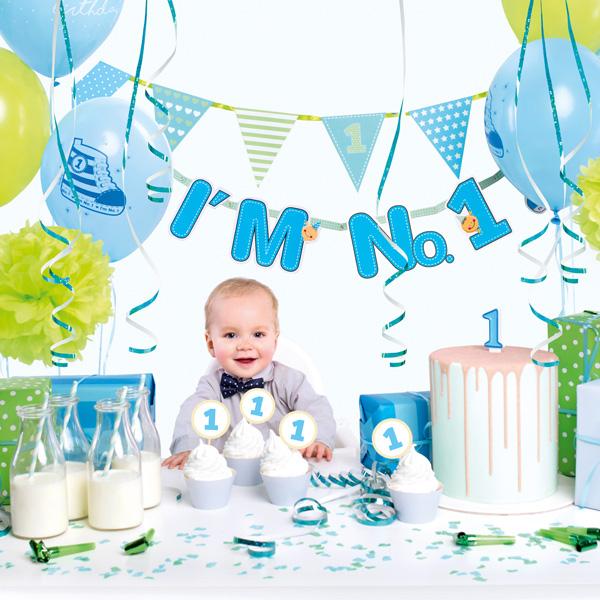 Partydekoset zum 1.Geburtstag in blau, 42-teilig