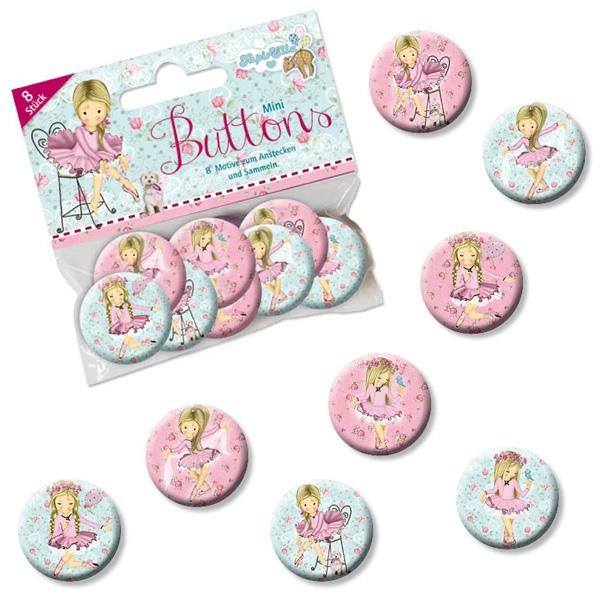 Ballerina Mini Buttons mit kleiner Balletttänzerin, 2,5 cm, 8er Pack