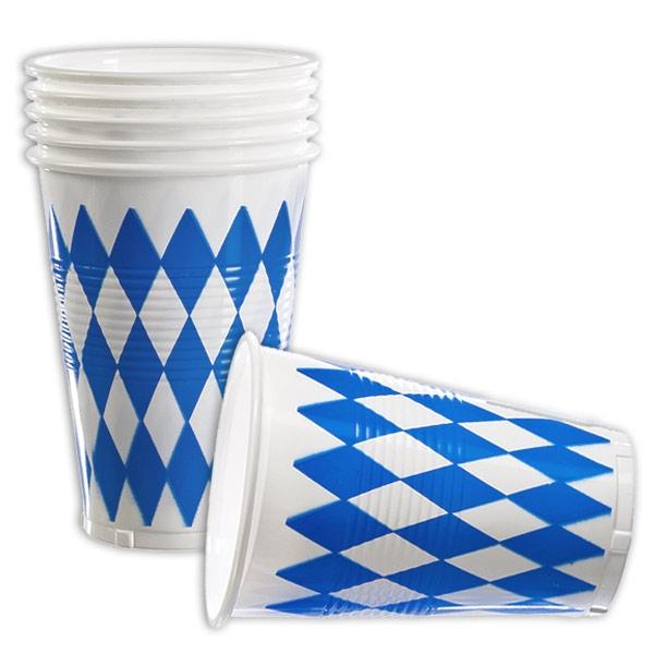 Bayrische Plastikbecher mit blau-weißen Rauten für Oktoberfest, 10er