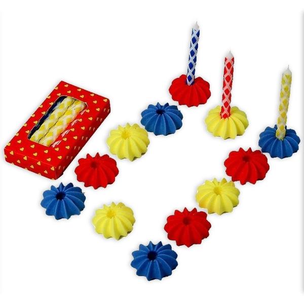 je 6 Zucker-Kerzenhalter mit Kerzen aus Wachs in tollem Muster, 6 cm