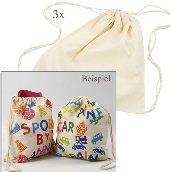 Baumwollbeutel mit Kordel als Bastelgrundlage, 3er Pack,37x41cm, Natur