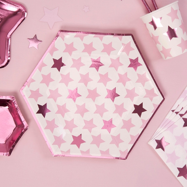 """Partyteller """"Kleiner Stern"""" in pink, 8er Pack"""