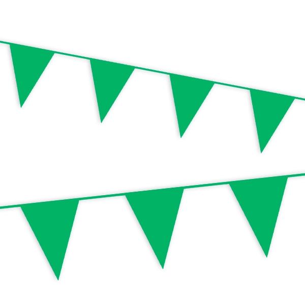 Wimpelkette grün, viele Folie-Wimpel als Deko für draußen, 10 m