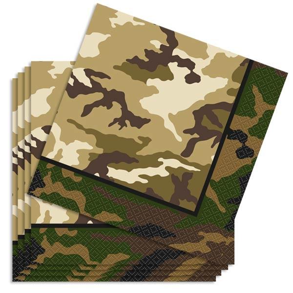 Camouflage Servietten groß 16 Stk., Papierservietten im Tarnfarben-Look, 33 cm