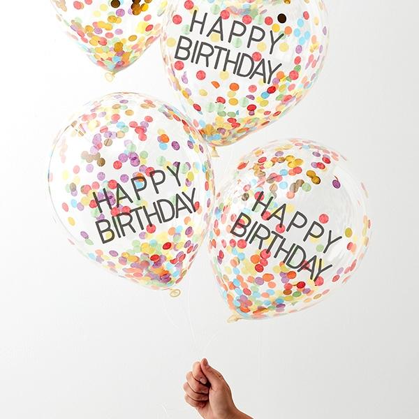 Konfetti-Luftballons bunt & gold, 5 Konfettiballons als Ballondeko
