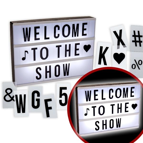 Leuchtende Anzeigetafel wie im Kino mit Buchstaben-Platten, 30cm