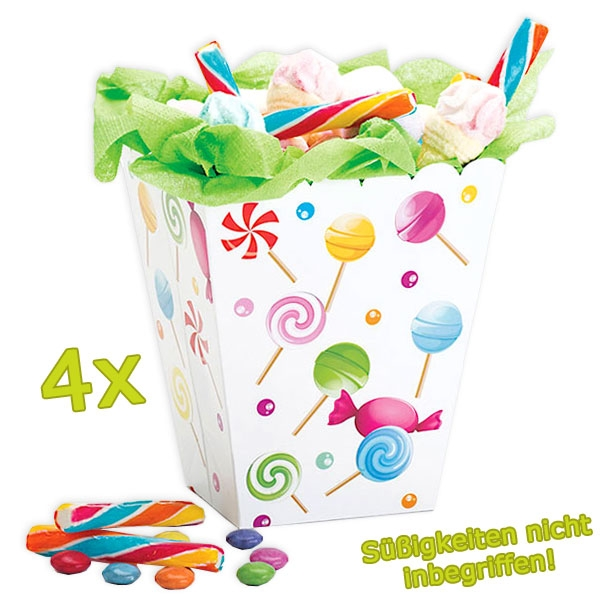 4 Popcorn-Tüten, bunte Süßigkeiten-Box Candy-Motiv, Kinder-Geburtstag