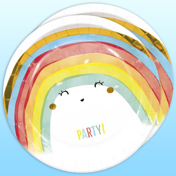 Regenbogen Partyteller, 8 Stück, 22,5 cm