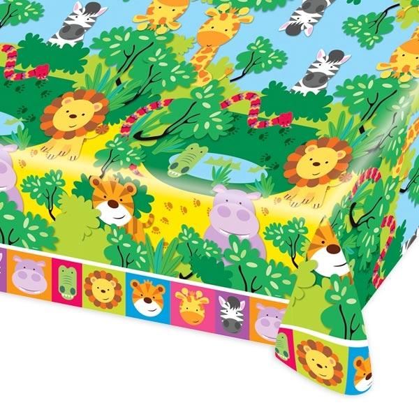 Dschungeltier Tischdecke,1,2mx 1,8m, Folientischdecke mit wilden Tieren