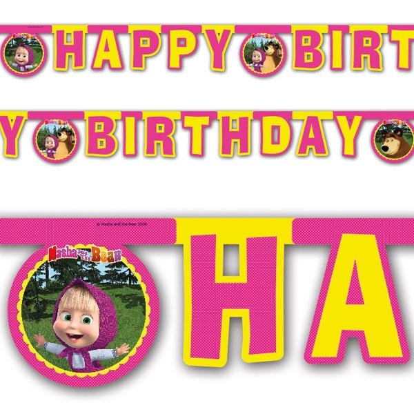 Mascha u. der Bär Buchstabenkette Happy Birthday, Raumdeko, 2m