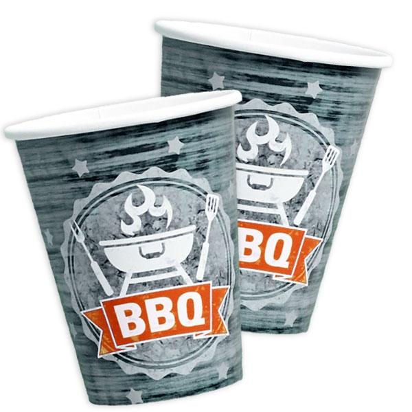BBQ Becher, coole Pappbecher für Grillparty im 8er Pack, 250ml
