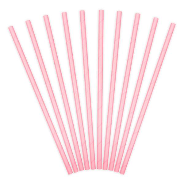 10 Papiertrinkhalme, rosa, 19,5cm