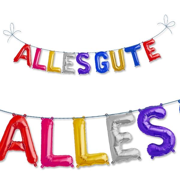 Miniballon-Kette als Buchstaben des Wortes  ALLES GUTE aus Folie, 41cm