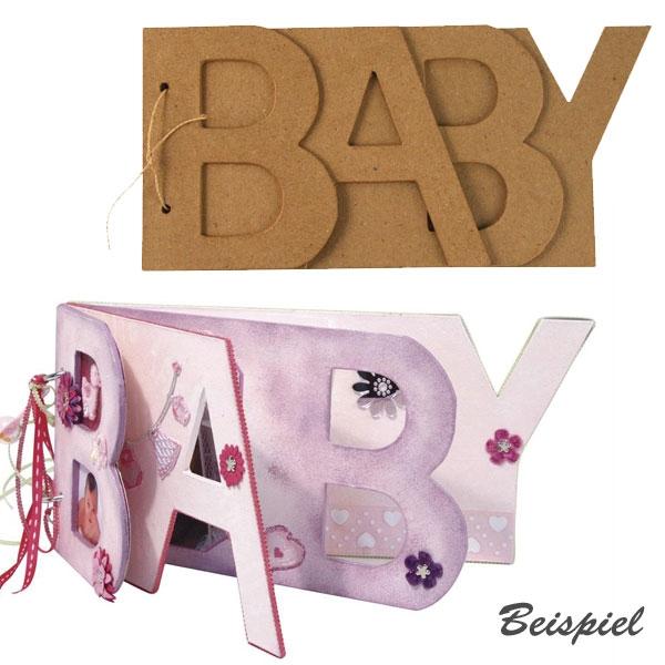 Dekobuch BABY aus Pappe, 25×12cm für außergewöhnliches Babyalbum