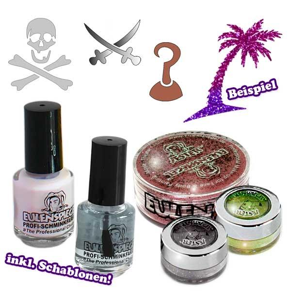 Glittertattoo-Set Karibik mit 3x Glitter, 4 Tattooschablonen +Kleber