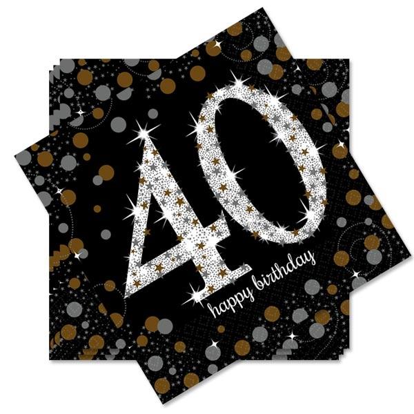 Sparkling Celebr. Servietten 40. Geburtstag, 33cm, 16er Pck.