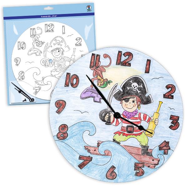 """Ausmal-Uhr """"Pirat"""", Ø 25cm"""