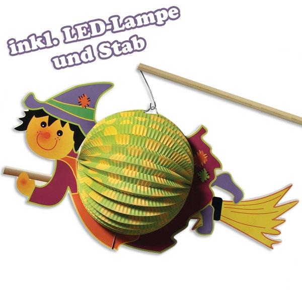 Hexenlampion, inkl. Stab und LED, für Laternenumzüge