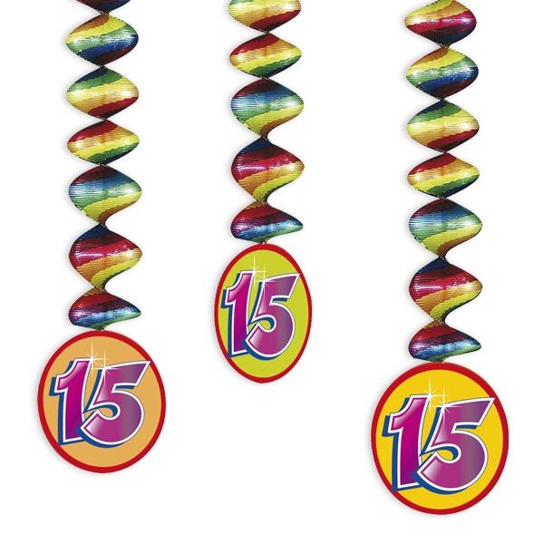 "Rotor-Spiralen, Zahl ""15"", Regenbogen-Farben, 3 Stück"
