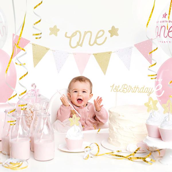 Partydekoset zum 1.Geburtstag in rosa und gold, 33-teilig