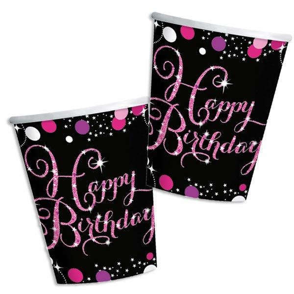 Sparkling Celebration Pink Becher, 8er Pack, Pappe, 266ml