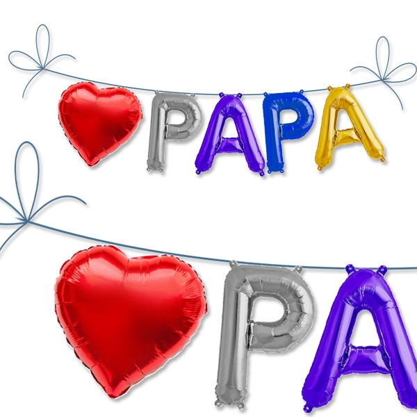 Mini Folieballon-Set Papa, 5 Ballons für Vatertag, Babyparty & Geburt