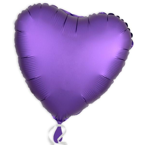 Lila Folienballon als Herz, violetter Herzballon aus Folie, 34 cm, 1 Stück