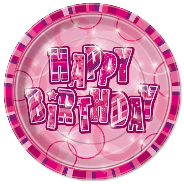 Happy Birthday Geburtstagsteller für Mädchenparty in Pink, 8er,Pappe