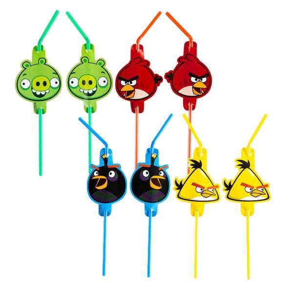 Angry Birds Trinkhalme, Plastik-Trinkröhrchen mit Pappmotiv, 8 Stück