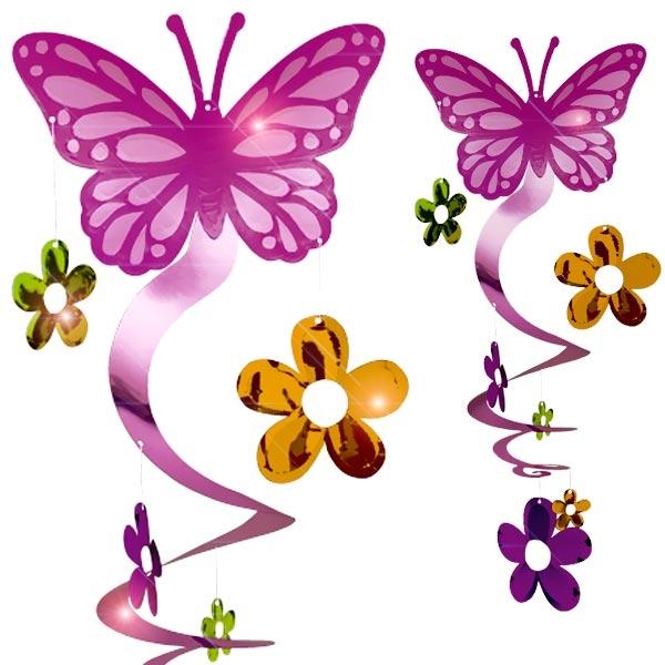 Schmetterlings-Spiralen Hängedekoration, 61cm, Metallic-Folie, glänzende Deko, Hängespiralen, Butterfly