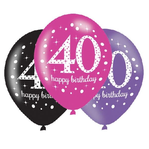 Luftballons zum 40. Geburtstag, 6 Stk, 27,5cm