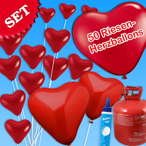Ballongas-Set mit 50 Riesen-Herzballons