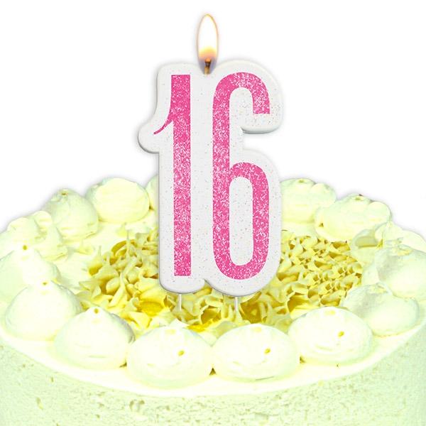 Birthday-Zahlenkerze als 16 mit Glitter in Pink