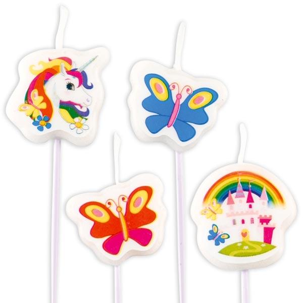 Einhorn Figurenkerzen, 4 kleine Geburtstagskerzen für Mädchen