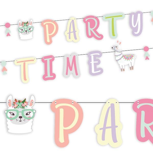Partykette Lama mit Buchstaben PARTY TIME, 2,4m Hängedeko Pappe