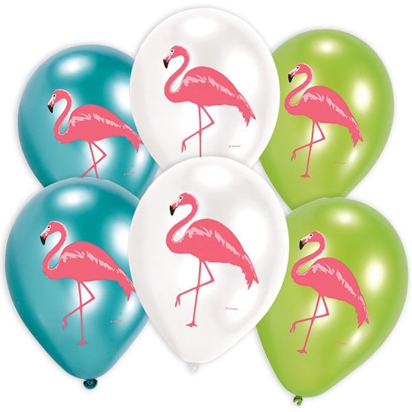 Flamingo Luftballons in Türkis, Weiß und Grün, Latexballons im 6er Pack
