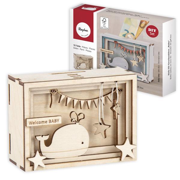 3D Geschenkbox, Baby, 11,5cm x 8,5cm