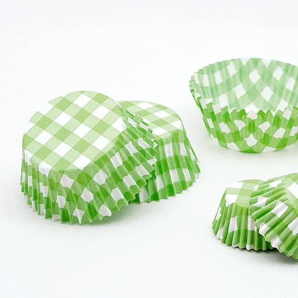 Grün karierte Muffinförmchen, 75 Stk.