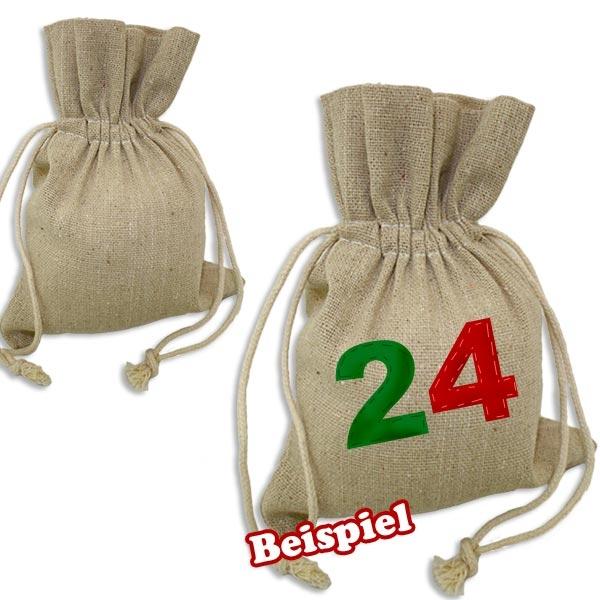 Baumwollsäckchen, 2er Set mit Kordel für Weihnachtskalender, 11x15,5cm