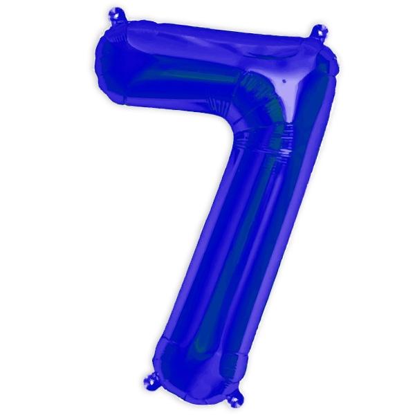 Folienballon Zahl 7 für 7. Kinder-Geburtstag als Ballondeko, 41cm