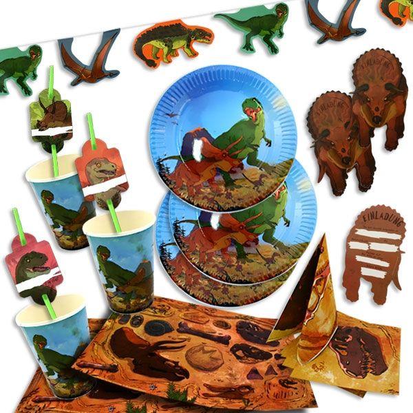 Dinosaurier Partyset 61-teilig für 8 Kinder, Raumdeko und Tischdeko