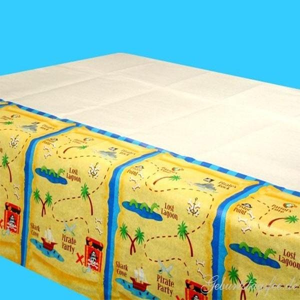 Piraten-Tischdecke Papier 259×137cm im Schatzkarten-Design für Kinder