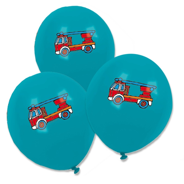 Feuerwehr Ballons blau 8 Stk., 30cm