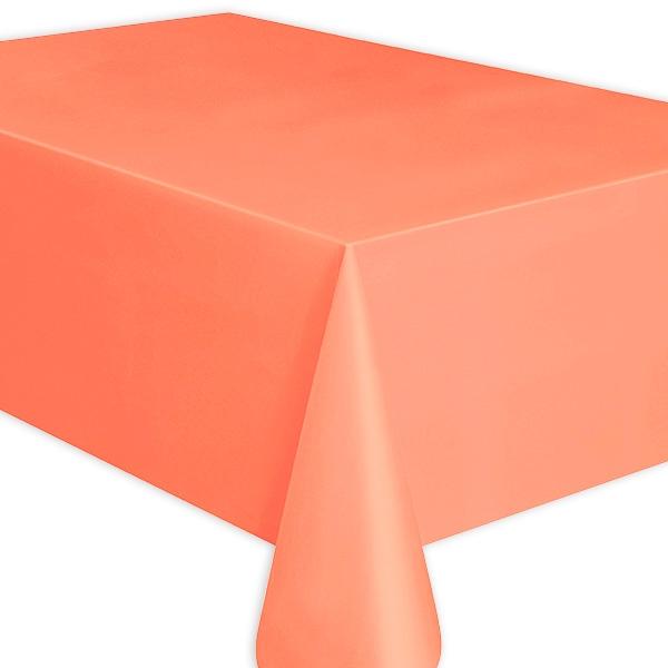 Tischdecke korallrot, Partytischdecke einfarbig, abwischbare Folie, 1 Stück